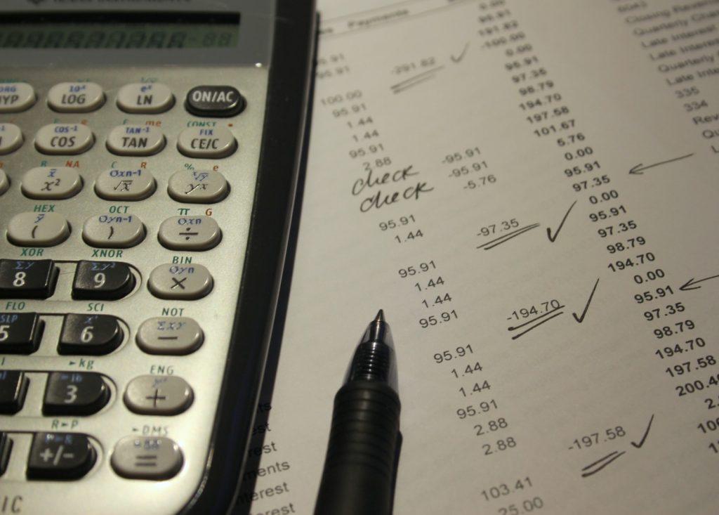 Cálculos de conta para pagamento
